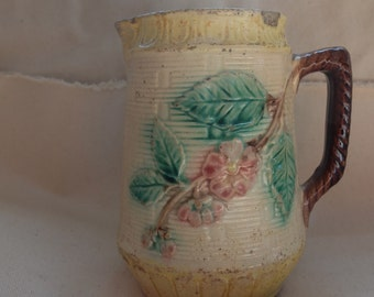 Antique Majolica Pitcher, milk jug, container
