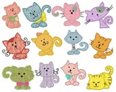 CATS - Machine Applique Embroidery - Instant Digital Download