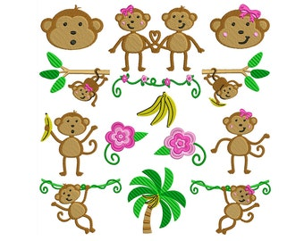 MONKEY - Machine Filled Embroidery - Instant Digital Download