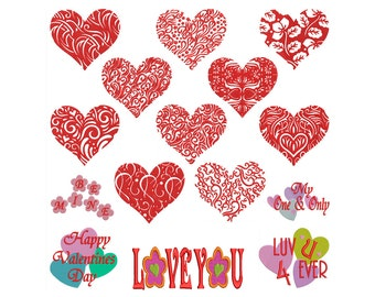 VALENTINE HEARTS - Machine Embroidery - Instant Digital Download