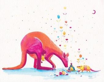 Watercolor Kangaroo Print - Armadillo's Generous Offering - 8x10 - Nursery Decor Art, Kids Wall Art, Childrens Print, Princess Kangaroo