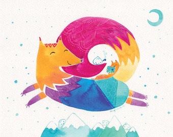 Children Art - Rainbow Fox Print - Over the Mountains - 8x10 - Kids Wall Art, Nursery Wall Art