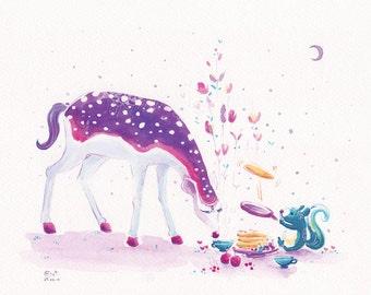 Watercolor Deer, Squirrel Print - Pancakes and my Deer Friend - 8x10 - Elegant Deer, Childrens Print, Princess Deer, Purple Deer
