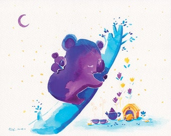 Cute Koala Print Koala Art - Tree Top Sleep - 8x10 - Kids Decor Art, Purple Koala, Watercolor, Watercolour, Little Blue Moon