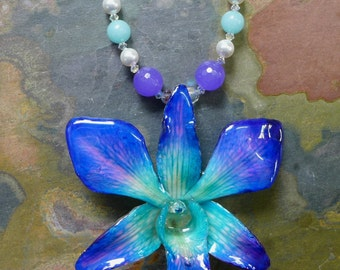 Orchid Pendant, REAL/GENUINE Blue/Purple Orchid Flower Pendant with jade,Amazonite, pearls-Bridal/Wedding Flower Pendant, Flower Necklace
