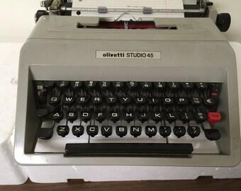 Vintage Olivetti Studio 45 Portable Manual Typewriter with Case