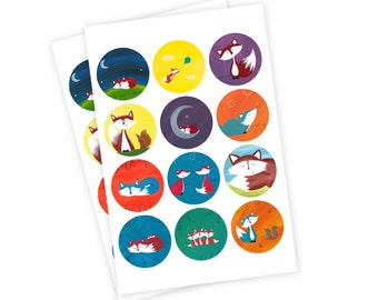 """24 1"""" Small Fox Stickers - Fox Cupcake Toppers"""