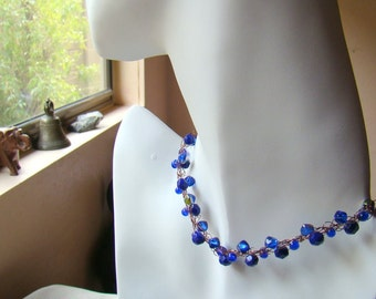 Cobalt and Copper Crochet Wire Necklace // Blue Glass Beaded Necklace // Crochet Wire Jewelry // Boho Necklace - CR0052