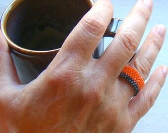 Gray and Orange Bead Ring  Peyote Ring  Unisex Jewelry  Mens Ring  Seed Bead Ring  Neon Orange Ring  Beaded Ring