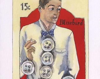Original watercolor men button card Genuine pearl