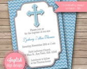 Printable Chevron Cross Baptism Invitation, Chevron Baptism Invitation, Cross Baptism Invite, Chevron Baptism Invite - Chevron Cross