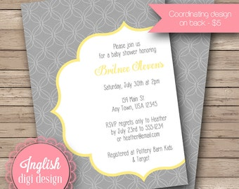 Lattice Baby Shower Invitation,  Lattice Baby Shower Invite, Printable, DIY, Modern Lattice Design in Gray, Yellow and White