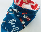 Cat in the Hat - Bandana Style Bib - Reversible, Baby/Toddler Bib, Cotton Fabric, Bibdanas, red chevron, dr seuss, the cat in the hat
