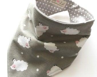 Lambs - Bandana Style Bib - Reversible, Baby/Toddler Bib, Cotton Fabric, Bibdanas, little lambs, sheep, grey, polka dots, easter