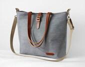 LARGE, Navy stripe denim tote / diaper bag / shoulder bag with detachable strap  Design by BagyBags