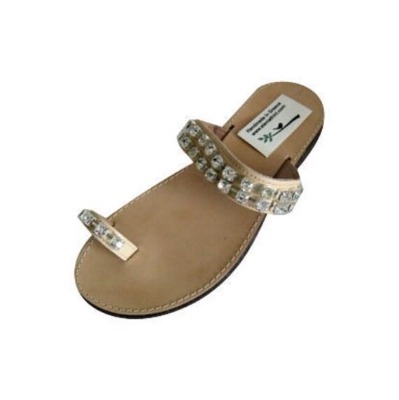 Greek leather sandals crystal sandals toe sandals SALE size 8-8.5- EU 39 sandales femme