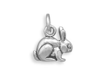 3-D, Sterling Silver Bunny Charm, Qty: 1