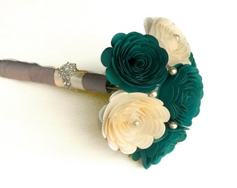 Handmade Wedding Bouquet in Gem and Ivory, Oasis, Teal, Blue Green