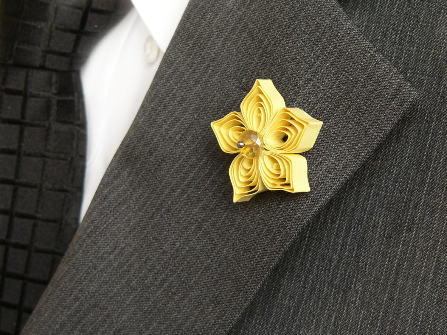 Yellow Lapel Pin Yellow Boutonniere for Men Yellow Flower