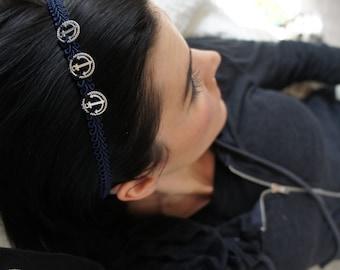 Olivia Paige -  Rockabilly Anchor Sailor Navy  Pin up trim headband