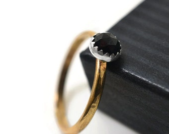 Black Spinel Ring, 14K Gold Fill Ring, Natural Black Gemstone Engagement Ring, Hammered Gold Filled Jewelry