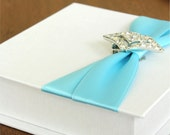 Ring Bearer Box with Vintage Jewel. Ring Bearer Pillow. Fabric Box. Shown in White & Aqua.