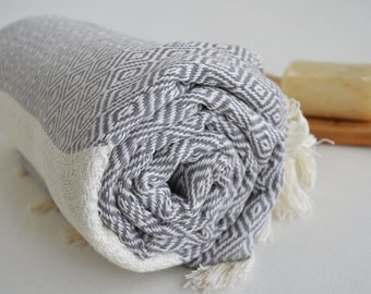BathStyle / Diamond Bathstyle Turkish BATH Towel Peshtemal -B- Gray - White - Bath, Beach, Spa, Swim, Pool Towels