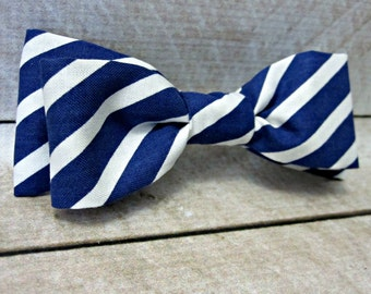 Men's Skinny Navy Stripe Bow Tie Clip