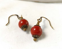 Red Jasper Gemstone Earrings With Antiqued Brass, Bronze