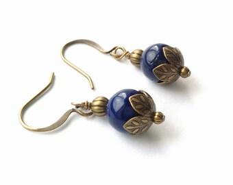 Bright, Navy, Cobalt Blue 8 mm Riverstone Gemstones Wrapped Brass Bronze, Antiqued Gold Dangle Earrings