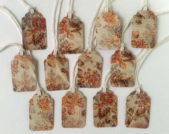 "12 Small Gift Tags  - 1.5"" x 15/16"" All Recycled Materials - Yellow & Orange Floral Design"