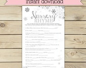 Winter Baby Shower Nursery Rhyme Quiz Game Printable - Instant Download - Silver and Gray