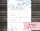 Winter Bridal Shower Games - Price is Right Game Printable - Blue and Gray Snowflake Bridal Shower - Instant Download - Winter Wonderland