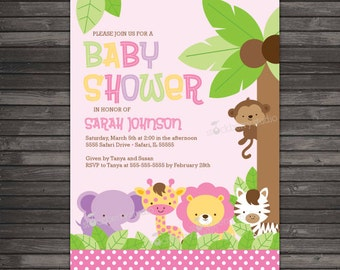 Girl Safari Animals Baby Shower Invitation Printable - Pink Jungle Animals Baby Shower Invitation - Girl Safari Themed Invite