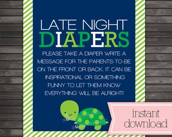 Turtle Baby Shower Late Night Diapers Game Printable -  Navy Blue Baby Shower Game - Instant Download - Green Boy Baby Shower Sign