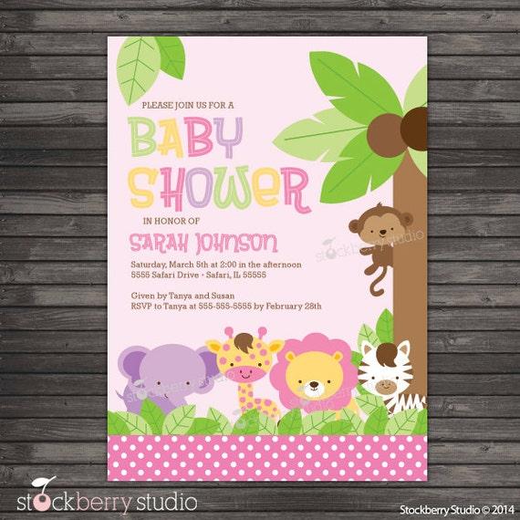 girl safari animals baby shower invitation printable pink, Baby shower invitation