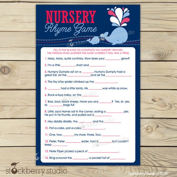 baby shower games instant download navy blue nautical baby shower