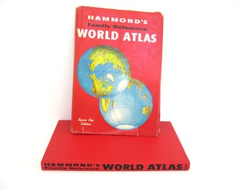 Hammond's Family Reference World Atlas Space Age Edition Vintage 1965 Hardcover Dust Jacket