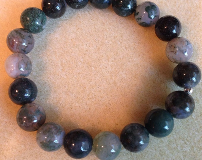 Moss Agate 10mm Round Stretch Bead Bracelet with Sterling Silver Accent