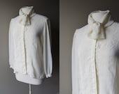 Vintage 70's TUXEDO / TIE NECK Neiman Marcus Blouse - Off White