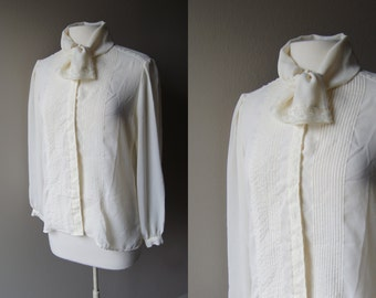 Vintage 70's TUXEDO Blouse  TIE NECK Blouse Neiman Marcus Blouse Off White Blouse 70's Top Tuxedo Top Tie Neck Top Neiman Marcus Top Button