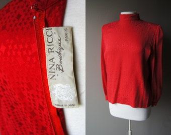 Vintage NINA RICCI Blouse 100% Silk Blouse Red Blouse Large Blouse Couture Blouse Secretary Blouse Silk Top Red Top Secretary Blouse 70's