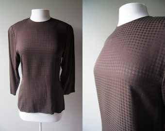 Vintage Silk Blouse Houndstooth Top Chocolate Brown Blouse Button Back Blouse  Small Blouse Barry Bricken Small Top Silk Top Brown Top