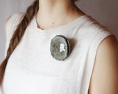 Felted grey brooch circles, felted brooch white natural stones gray soft flower summer spring fashion ooak