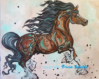 Print of Fancy Welsh Cob Stallion Art Equine Horse art