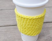 SiMPLiFY Bright Sunny Yellow Basic Crochet Coffee Sleeve Reusable Hot Cold Drink Cozy Cotton Summer
