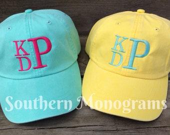 Custom Personalized Monogrammed Baseball Cap Hat - Coral, Hot Pink, Sea Foam etc