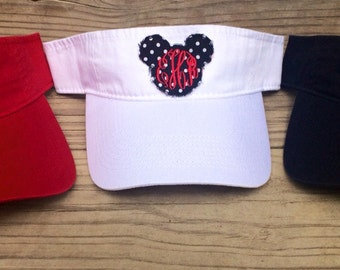 Custom Adult Monogrammed Disney Mickey Mouse Visor or Hat - Personalized  Applique Mickey Patch