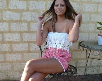 Womens Pompom Short, Pink Pompom Short, Boho Womens Shorts, Rose Pink Shorts, Cotton Boho Shorts