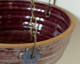 """Hanging Planter in Rouge Red with Blue Accent Flowers and Optional 18"""" Chain for Hanging"""